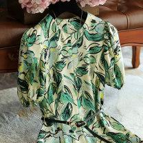 Dress Spring 2021 Decor S,M,L,XL Mid length dress singleton  Short sleeve commute Crew neck Socket puff sleeve 71% (inclusive) - 80% (inclusive)