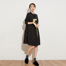 Dress Spring 2021 Decor S M L XL Mid length dress singleton  Long sleeves commute stand collar middle-waisted Socket 40-49 years old Type X Pukka / PU Pai literature 81% (inclusive) - 90% (inclusive) cotton Cotton 81.9% flax 18.1% Pure e-commerce (online only)