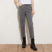 Casual pants grey S M L XL Spring 2021 trousers Straight pants High waist commute routine 35-39 years old D313006 Pukka / PU Pai cotton literature Embroidery cotton Cotton 97.4% polyurethane elastic fiber (spandex) 2.6% Same model in shopping mall (sold online and offline)