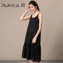 Dress Summer of 2019 Black and white S M L XL Mid length dress singleton  Sleeveless commute other Ultra low waist Solid color Socket other other camisole 35-39 years old Type A Pukka / PU Pai literature Lotus leaf edge More than 95% other cotton Cotton 100%