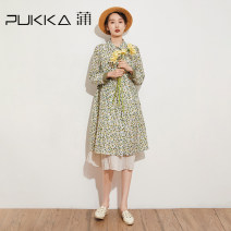 Dress Spring 2021 Decor S M L XL Mid length dress singleton  Long sleeves commute square neck Loose waist Decor Single breasted A-line skirt shirt sleeve Others 35-39 years old Type A Pukka / PU Pai Retro printing D314023 71% (inclusive) - 80% (inclusive) cotton Cotton 72.4% Silk 27.6%