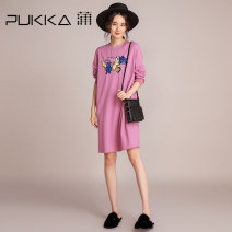 Dress Autumn of 2019 Pink Purple S M L XL Middle-skirt singleton  Long sleeves commute Crew neck middle-waisted Solid color Socket A-line skirt routine 35-39 years old Type A Pukka / PU Pai literature Embroidery D694008 More than 95% knitting cotton Cotton 100% Pure e-commerce (online only)