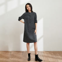 Dress Spring 2021 black S M L XL Mid length dress Long sleeves commute Others 35-39 years old Type H Pukka / PU Pai Simplicity 51% (inclusive) - 70% (inclusive) polyester fiber Pure e-commerce (online only)