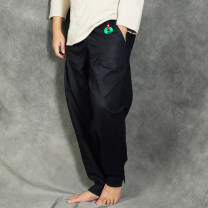 Casual pants Eight ancient prose Fashion City black S,M,L,XL,2XL routine trousers Other leisure easy Micro bomb qd056 Four seasons Large size Chinese style 2018 middle-waisted Little feet Flax 80% cotton 20% Haren pants Embroidery washing Ethnic style plain cloth hemp Hemp cotton Original designer