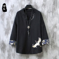 T-shirt Youth fashion White black grey blue routine M L XL 2XL 3XL 4XL 5XL Sirmai Long sleeves V-neck easy Other leisure summer SM912 Cotton 90% flax 10% youth routine Chinese style Cotton wool Summer 2021 Animal design Embroidery cotton Chinese culture No iron treatment Fashion brand