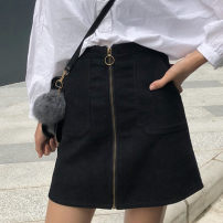 skirt Winter of 2018 M,L,XL,2XL,3XL,4XL Black (corduroy), rough pattern leather, green pattern, blue pattern black pattern Short skirt commute High waist A-line skirt Solid color Type A 71% (inclusive) - 80% (inclusive) corduroy other Pocket, tridimensional decoration, zipper Korean version