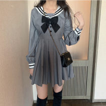 Women's large Winter 2020, autumn 2020 grey Large XL, large XXL, large XXL, large XXXXL, large XXXXL Dress singleton  commute Self cultivation moderate Conjoined Long sleeves Stripe, solid color Korean version Admiral shirt sleeve Short skirt Pleated skirt bow