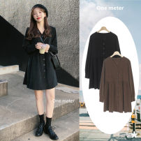 Dress Autumn 2020 Brown, black S,M,L,XL Short skirt singleton  Long sleeves commute V-neck High waist Solid color Single breasted A-line skirt routine Others 18-24 years old Type A Korean version Pleats, threads, buttons 206#