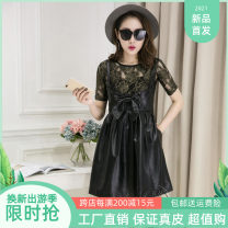 Dress Winter of 2018 black M,L,XL,2XL,3XL Mid length dress singleton  Sleeveless commute middle-waisted Solid color Princess Dress straps 25-29 years old Type A Eupinweig Korean version bow Sheepskin