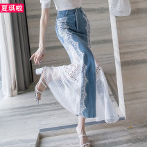 skirt Spring 2021 S M L XL XXL blue longuette sexy High waist Denim skirt Solid color Type A 30-34 years old X20A9699 More than 95% Denim Cherie cotton Cut out pocket with cut-out flounce, hand worn embroidery, hook and flower, three-dimensional decoration, unsymmetrical mesh and lace stitching