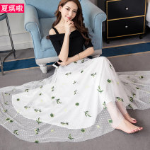 skirt Autumn of 2019 S M L XL XXL white longuette grace High waist Fairy Dress Decor Type A 25-29 years old X18A9039 More than 95% Lace Cherie polyester fiber Embroidered mesh stitching lace Polyester 100%