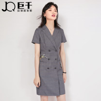Dress Summer 2020 XS XXXL S M L XL XXL Middle-skirt singleton  Short sleeve commute tailored collar middle-waisted lattice double-breasted One pace skirt routine Others 25-29 years old Type X JQ / juqian Britain Embroidered button J022L01149 71% (inclusive) - 80% (inclusive) other polyester fiber