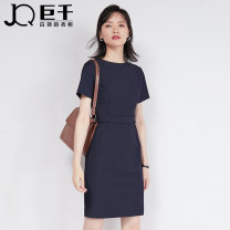Dress Summer 2021 1162 Tibetan blue stripe spare black spare grey S M L XL XXL XXXL Middle-skirt singleton  Short sleeve commute Crew neck High waist other Socket One pace skirt routine Others 25-29 years old Type X JQ / juqian Korean version Lace up zipper J922L01162 other polyester fiber