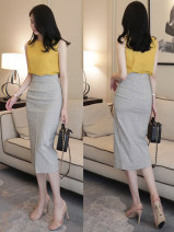 skirt Summer 2020 S,M,L,XL black Mid length dress commute High waist skirt lattice Type A 25-29 years old FS20202 other The fashion is extraordinary other Zipper, stitching, split Ol style