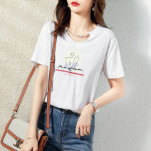T-shirt Pink white Average size Summer 2021 Short sleeve Crew neck easy Regular other commute cotton 96% and above 25-29 years old Simplicity originality character Paradise of awakening SXT2l057 printing Cotton 100% Pure e-commerce (online only)
