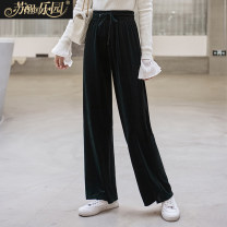 Casual pants Black grey S M L XL Autumn of 2019 trousers Wide leg pants Natural waist commute routine 25-29 years old 91% (inclusive) - 95% (inclusive) SXKl9109 Paradise of awakening Simplicity belt Viscose Polyester 92.2% polyurethane elastic fiber (spandex) 7.8% Pure e-commerce (online only)