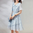 Dress Summer 2021 blue S M L Mid length dress singleton  Short sleeve commute V-neck High waist other Socket A-line skirt pagoda sleeve Others 25-29 years old Paradise of awakening Korean version SXL2l227 More than 95% other other Other 100% Pure e-commerce (online only)