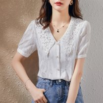 shirt white S M L Summer 2021 polyester fiber 51% (inclusive) - 70% (inclusive) Short sleeve commute Regular V-neck routine Solid color 25-29 years old Straight cylinder Paradise of awakening Korean version SXCS2l097 Polyester 61.3% cotton 38.7% Pure e-commerce (online only)