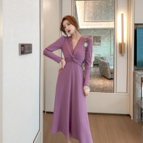 Dress Winter 2020 violet S M L longuette singleton  Long sleeves Sweet V-neck High waist Solid color zipper A-line skirt routine Others 25-29 years old Type A Snow Wolf Frenulum 30% and below knitting Lycra Lycra New polyester fiber 95% polyurethane elastic fiber (spandex) 5% Bohemia