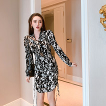Dress Spring 2021 Black and white S M L XL Short skirt singleton  Long sleeves Sweet V-neck High waist Decor zipper A-line skirt routine Others 30-34 years old Type A Snow Wolf printing More than 95% other other New polyester fiber 100% Mori Pure e-commerce (online only)