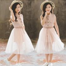 Dress Bluish grey, pink, bluish grey - long sleeves, light pink - long sleeves female Other / other 110cm,120cm,130cm,140cm,150cm,160cm Cotton 75% polyester 25% summer Korean version Skirt / vest Solid color Cotton blended fabric Pleats Korean rabbit lining dress Class B Chinese Mainland Foshan City