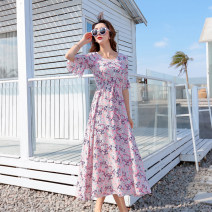 Dress Summer 2020 longuette singleton  elbow sleeve Sweet Crew neck High waist Broken flowers Socket Big swing Lotus leaf sleeve Type A Ruffles, pleats, prints More than 95% other Bohemia