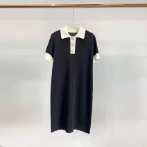 Dress Summer 2020 Purple, black S,M,L Mid length dress singleton  Short sleeve street Polo collar middle-waisted routine Others Type H 71% (inclusive) - 80% (inclusive) knitting