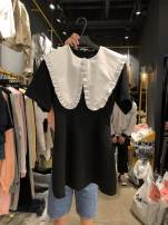 Dress Summer 2021 black S,M,L,XL Mid length dress singleton  Short sleeve commute Doll Collar High waist Solid color zipper routine 18-24 years old Korean version Stitching, ruffles 91% (inclusive) - 95% (inclusive) cotton