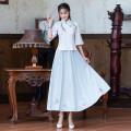 jacket Summer 2021 M,L,XL,2XL,3XL,4XL Light blue top + white skirt, white top + light blue skirt, pink top + white skirt Ayun 2000310 25-35 years old hemp 31% (inclusive) - 50% (inclusive)
