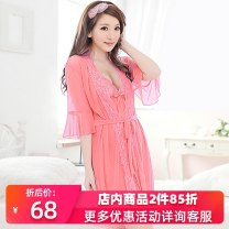 Pajamas / housewear set female Linglan Pavilion M L XL Purple dark pink nylon Short sleeve sexy pajamas summer ultrathin V-neck Solid color shorts youth 3 pieces rubber string 81% (inclusive) - 95% (inclusive) Mesh fabric Hollowing out llht14C0505 200g and below Spring and summer 2014 Short skirt