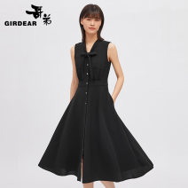Dress Spring 2021 black S M L Mid length dress singleton  Sleeveless commute V-neck High waist Solid color Single breasted Others 30-34 years old Girdard / brother-in-law A500131 More than 95% polyester fiber Polyester 100% Same model in shopping mall (sold online and offline)