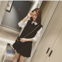 Dress Autumn 2016 S M L XL XXL Short skirt Fake two pieces Long sleeves commute Polo collar High waist Solid color Socket A-line skirt routine Others 35-39 years old Type A Jozzysion / zhuoyin Korean version Lotus leaf edge 51% (inclusive) - 70% (inclusive) other nylon Pure e-commerce (online only)