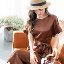 Dress Summer 2021 brown S,XL,L,M Mid length dress singleton  Short sleeve commute Crew neck Loose waist Decor Socket A-line skirt routine Others 25-29 years old Ziyun Yiyun Print, lace up, stitching, loose fit, no shape other