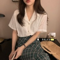 shirt White shirt, green plaid skirt S. M, average size Summer 2021 other 31% (inclusive) - 50% (inclusive) Short sleeve commute Regular tailored collar Single row multi button shirt sleeve Solid color 18-24 years old Self cultivation Other / other Korean version T0328
