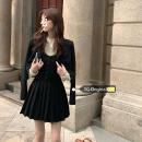 Fashion suit Autumn 2020 S. M, l, average size Khaki suit, black suit, khaki suspender skirt, black suspender skirt, apricot shirt 18-25 years old