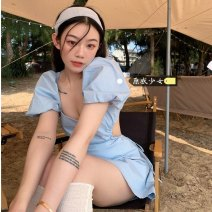 Dress Summer 2021 Cream blue Average size Short skirt singleton  Short sleeve commute square neck High waist Solid color Socket other puff sleeve Others 18-24 years old Type A Other / other Korean version backless Y0331 31% (inclusive) - 50% (inclusive) other other
