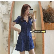 Dress Summer 2021 blue Average size Short skirt singleton  Short sleeve commute V-neck High waist other Single breasted other puff sleeve Others 18-24 years old Type A Other / other Korean version Y0327 31% (inclusive) - 50% (inclusive) other other