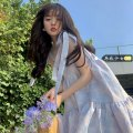 Dress Summer 2021 White shirt, blue suspender skirt S. M, l, average size Mid length dress Two piece set Sleeveless commute One word collar High waist Socket Irregular skirt camisole 18-24 years old Type A Other / other Korean version Y0325 31% (inclusive) - 50% (inclusive)