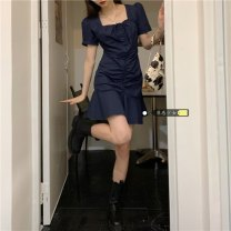 Dress Summer 2021 dark blue S,M,L Middle-skirt singleton  Short sleeve commute square neck High waist Solid color Socket A-line skirt puff sleeve Others 18-24 years old Type A Korean version 31% (inclusive) - 50% (inclusive)