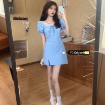 Dress Summer 2020 blue S,M,L Short skirt singleton  Short sleeve commute square neck High waist Solid color Socket A-line skirt bishop sleeve Others 18-24 years old Type X Korean version 81% (inclusive) - 90% (inclusive) other