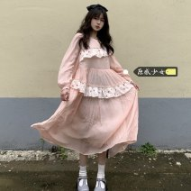 Dress Spring 2021 Long dress, short dress Average size Mid length dress singleton  Long sleeves commute Crew neck High waist Solid color Socket A-line skirt routine Others 18-24 years old Type A Korean version H0328 31% (inclusive) - 50% (inclusive) other rabbit 's hair