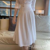 skirt Spring 2020 S, M Milky white, black Mid length dress High waist Solid color