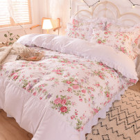 Bedding Set / four piece set / multi piece set cotton Quilting Plants and flowers 133x72 Other / other cotton 4 pieces 40 Bed skirt Qualified products Princess style 100% cotton twill pigment printing
