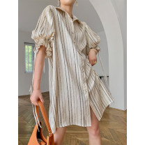 Dress Summer 2021 Champagne S,M,L,XL Mid length dress singleton  elbow sleeve commute other Loose waist stripe Single breasted other puff sleeve Others Type H Retro Pleating, bright silk, printing R20306 More than 95% Chiffon Cellulose acetate