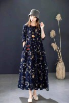 Dress Spring 2021 Orange, red, ginger, small white flowers with dark blue background, broken flowers with dark blue background, big flowers with dark blue background Average size Mid length dress singleton  Long sleeves Sweet Crew neck Loose waist Socket routine Other / other cotton Mori
