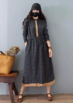 Dress Spring 2021 Blue, dark blue, green, red, big coffee flower, pink purple, light purple, small coffee flower Average size Mid length dress singleton  Long sleeves Sweet Crew neck Loose waist Socket routine Other / other 51% (inclusive) - 70% (inclusive) cotton Mori