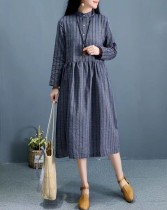 Dress Autumn of 2018 Dark coffee green dark blue Average size Mid length dress singleton  Long sleeves Sweet Loose waist Socket routine Other / other 51% (inclusive) - 70% (inclusive) cotton Mori