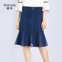 skirt Summer of 2019 Middle-skirt Versatile High waist Splicing style Solid color 25-29 years old 91% (inclusive) - 95% (inclusive) other Jettrain cotton