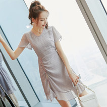 Dress Summer 2020 Picture color S M L XL Middle-skirt singleton  Short sleeve commute V-neck middle-waisted Solid color Socket A-line skirt routine Others 25-29 years old Type X City of fragrance Korean version More than 95% polyester fiber Polyethylene terephthalate (polyester) 100%