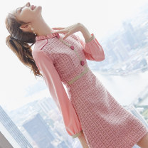 Dress Winter 2020 Picture color S M L XL Middle-skirt singleton  Long sleeves commute stand collar middle-waisted Decor zipper A-line skirt routine Others 25-29 years old Type A City of fragrance Korean version AF07595 More than 95% polyester fiber Polyester 100% Pure e-commerce (online only)
